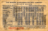 The Winona Interurban Railway Company Northbound Timetable Effective July 10, 1910.