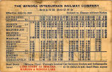 The Winona Interurban Railway Company Southbound Timetable Effective July 10, 1910.