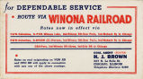 Advertisement, Route via Winona Railroad Adverstising Card