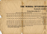 Winona Interurban Railroad Time Table - November 26, 1906